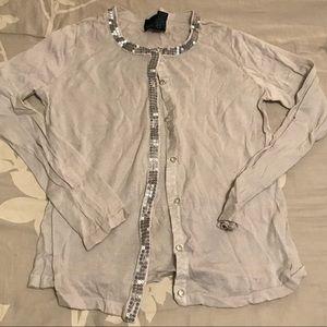 Cynthia Rowley sequined cardigan gray | L